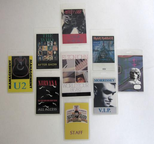 A collection of more than 300 backstage passes,  various dates,