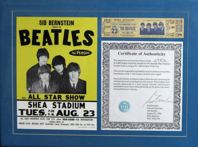 A Beatles at Shea Stadium ticket, 23rd August 1966,
