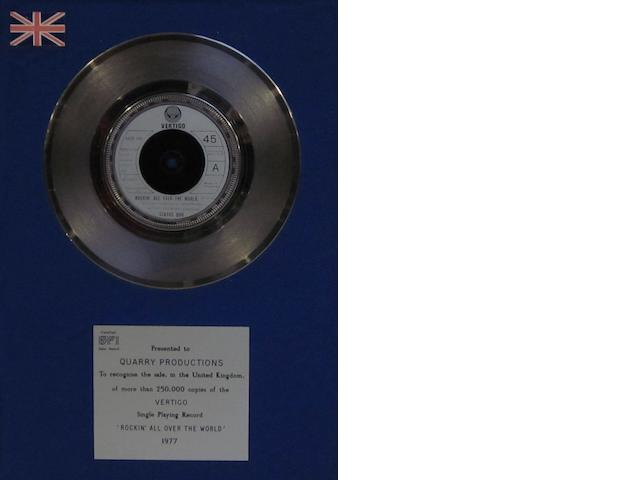 Status Quo: A 'Silver' sales award for the single 'Rockin' All Over The World', 1977,