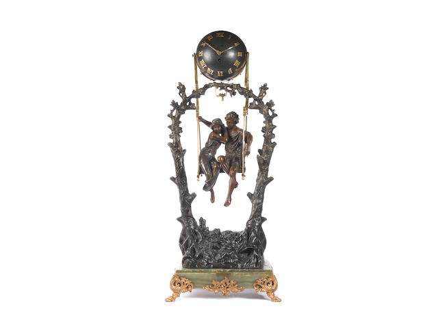 A rare late 19th century French spelter and onyx mystery swinging clock   'Idyll printaniere'