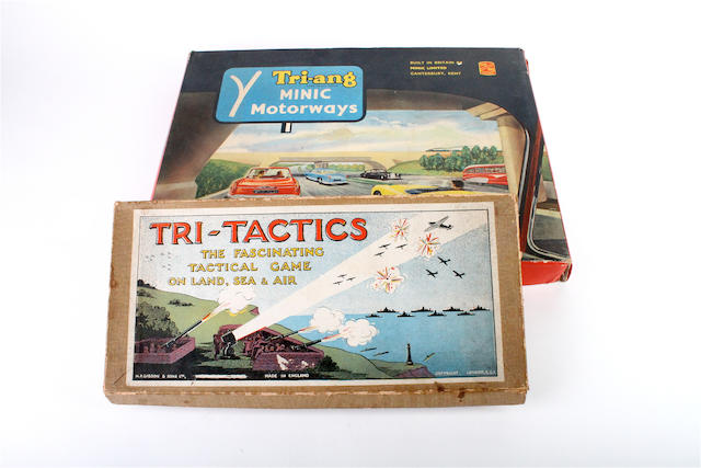 A Tri-ang Minic motorways and a Tri-tactics board game