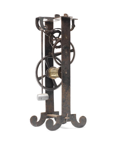 A 20th century iron model of Gallileo's escapement  signed under the lowermost horizontal bar L.C.Eichner Fecit, MCMXLVI