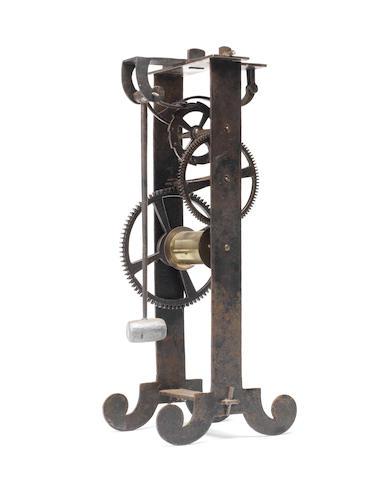 A 20th century iron model of Gallileo's escapement Signed under the lowermost horizontal bar L.C.Eichner Fecit, MCMXLVI