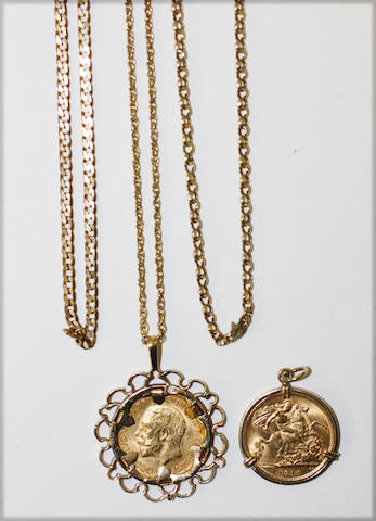 Two half sovereigns in pendant mounts and three chain necklaces