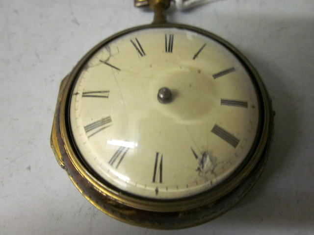 A tortoiseshell pair cased verge pocket watch,