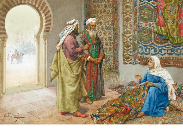 Giulio Rosati (Italian, 1858-1917) A Moorish carpet merchant