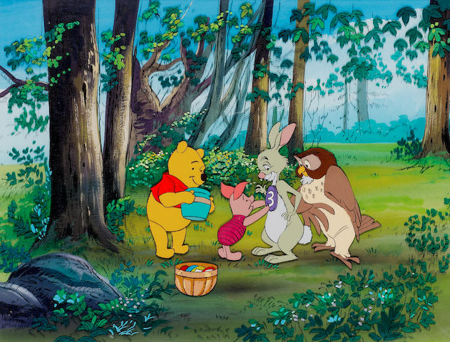 Winnie The Pooh: An original animation celluloid, depicting Pooh, Piglet, Rabbit and Owl playing a game,
