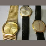A gentleman's 9 carat gold Rotary strap watch,  (3)
