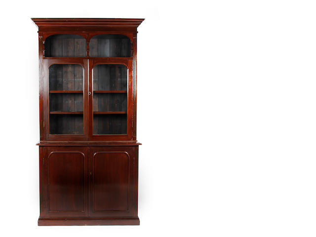 A mahogany and glazed bookcase