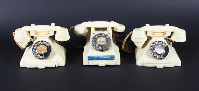 Ivory bakelite telephones: impressed marks 52, 52 and 54, 3