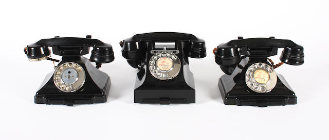A good type 312 black bakelite telephone and two 200-series telephones:  impressed marks 56, 54 and 46 respectively, 3