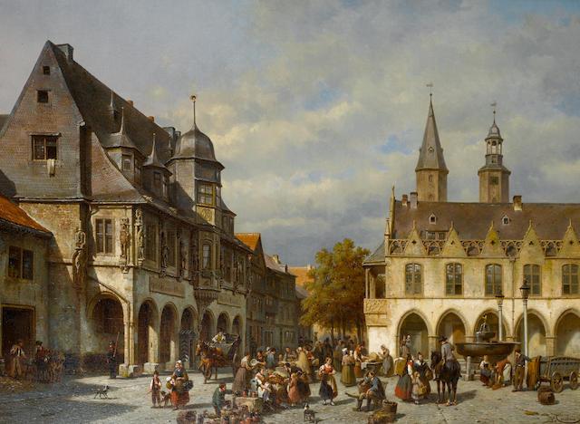 Jacques François Carabain (Belgian, 1834-1933) Market day, Goslar, Germany