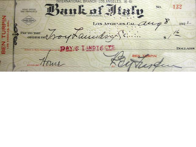A Ben Turpin autographed cheque,