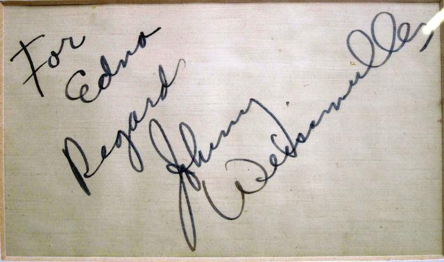 A Johnny Weissmuller autograph,