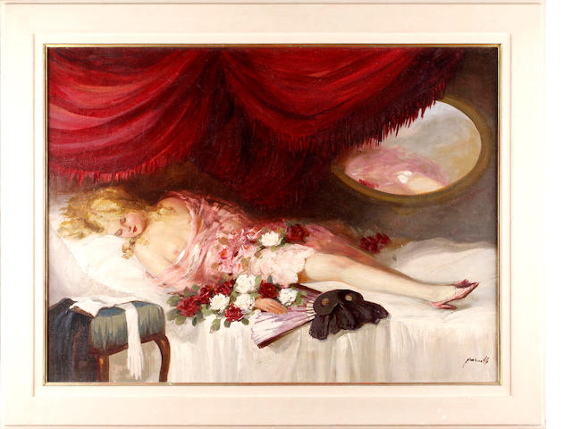 20th Century School Reclining female nude with flowers and a fan