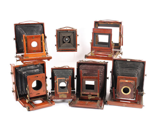 Mahogany and brass field cameras, incomplete