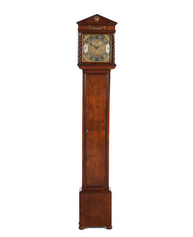 A rare and interesting late 17th century walnut longcase timepiece of one month duration  with ten-inch dial and one-and-a-quarter second pendulum  William Clement, London