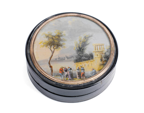 A Tortoise shell composition Snuffbox, by repute belonging to Lord Nelson. 3ins. (7.5cm)diam.