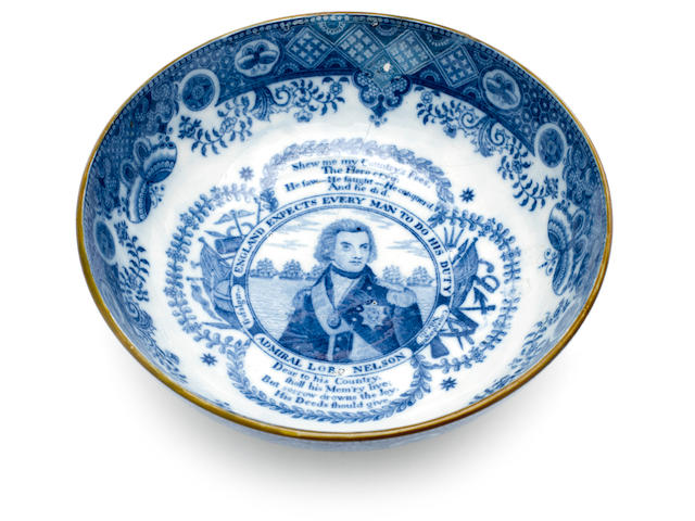 A Creamware decorated commemorative bowl, Battle of Trafalgar