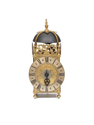A fine and rare early 18th century brass miniature lantern alarm timepiece  George Graham, London, number 583