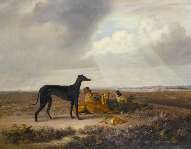 Attributed to Edmund Bristow (British, 1787-1876) An extensive landscape with Greyhounds and a young sportsman