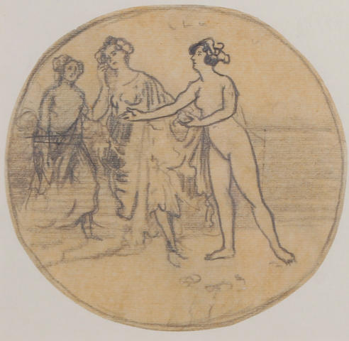 Charles Edward Conder (1868-1909) Study of classical figures, possibly the Three Graces diam. 15cm