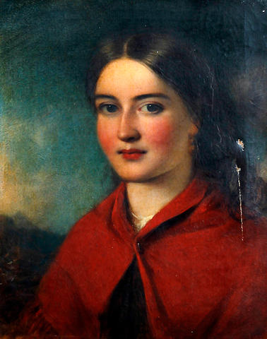 Circle of James John Hill (British, 1811-1882) A portrait of a young country girl wearing a red shawl