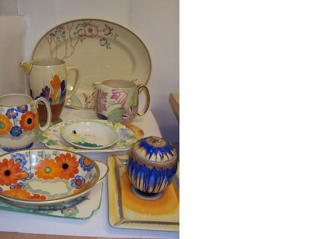 A small collection of Clarice Cliff pottery