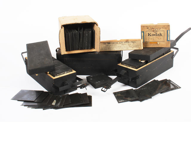 A quantity of magic lantern slides and other camera equipment qty