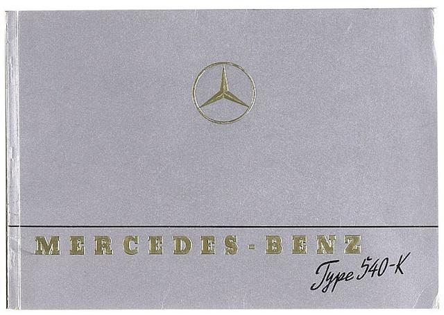 A Mercedes-Benz Type 540-K sales brochure, dated January 1939,