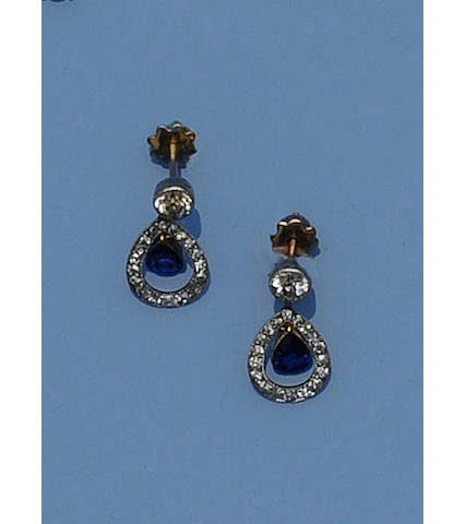 A pair of sapphire and diamond drop earpendants