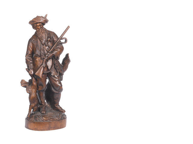 "A carved Black Forest figure of a hunter, most probably by Johann Huggler as per page 147 ""Black Forest Woodcarvings"" by Peter F. Blackman"