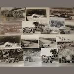 Photographs depicting pre-War Bugatti race scenes,