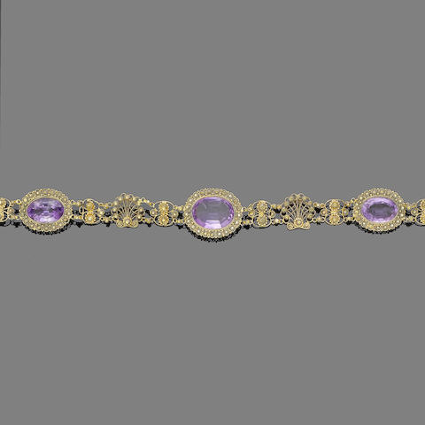 An amethyst necklace, brooch and bracelet suite, (4)