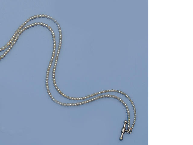 A double strand natural and cultured pearl necklace