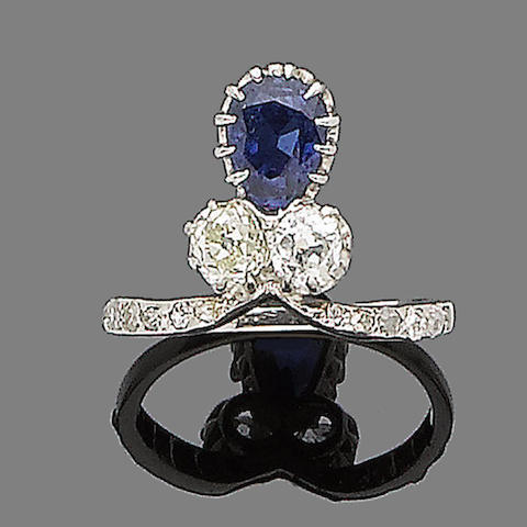 An early 20th century sapphire and diamond dress ring