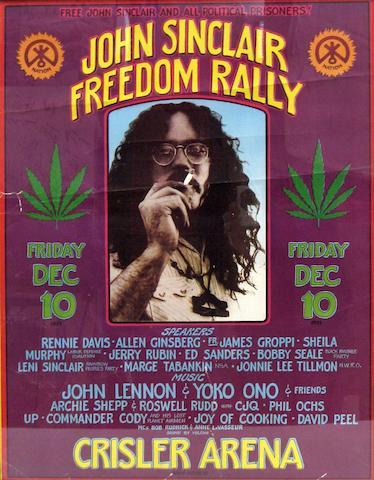 John Lennon & Yoko Ono: A John Sinclair Freedom Rally poster, festival poster