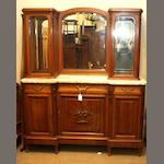A French walnut and kingwood mirror back chiffonier