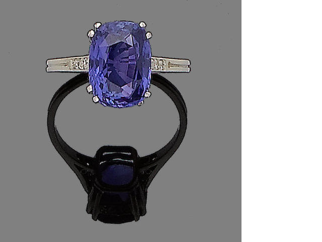 A colour-change sapphire and diamond ring