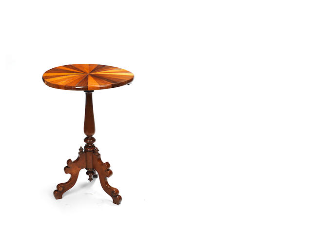 A 19th century Tobagonian specimen wood tripod table made for the British Guiana and West Indian Exhibition of 1885