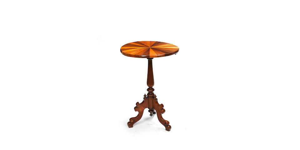 A 19th century Tobagonian specimen wood and West Indian rosewood tripod table made for The British Guiana and West Indian Exhibition of 1885 by the Hon. Edward Keens