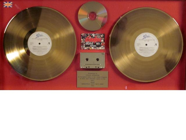 The Stranglers: a 'Gold' sales award for the vinyl album, CD and cassette,  'Greatest Hits 1977 - 1990', 1991,