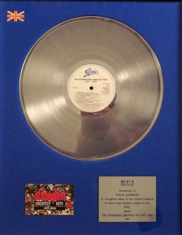 The Stranglers: a 'Silver' sales award for the album 'Greatest Hits 1977 - 1990', 1991,