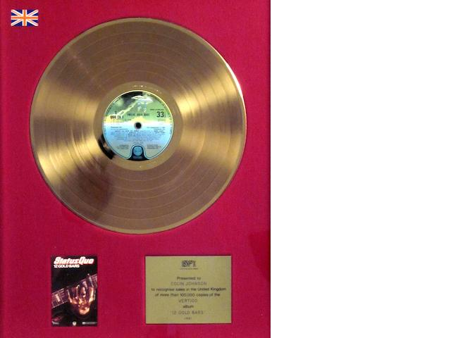 Status Quo: a 'Gold' sales award for the album '12 Gold Bars', 1981,