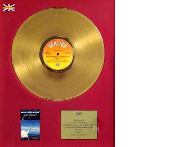 Status Quo: a 'Gold' sales award for the album 'Just Supposin''', 1980,