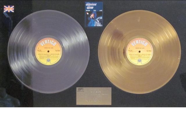 Status Quo: a 'Gold' and 'Silver' sales award for the album 'Never Too Late', 1981,