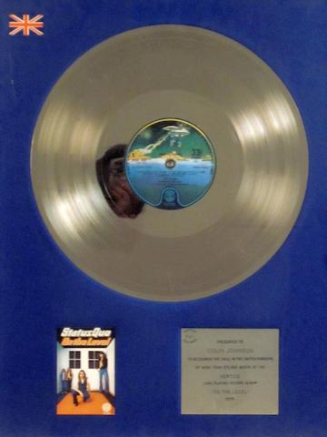 Status Quo: a 'Silver' sales award for the album 'On The Level', 1975,