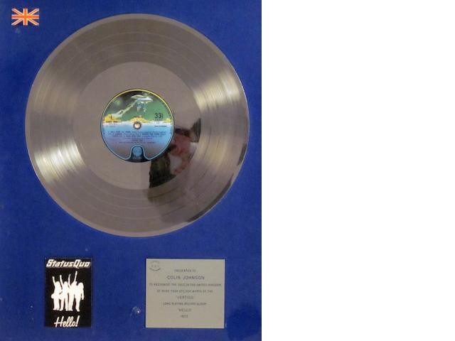 Status Quo: a 'Silver' sales award for the album 'Hello', 1973,