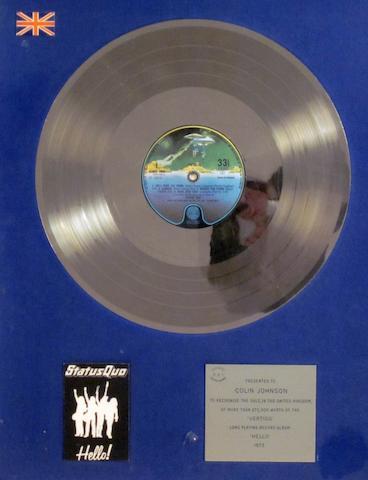 Status Quo: a 'Silver' sales award for the album 'Hello', 1973,