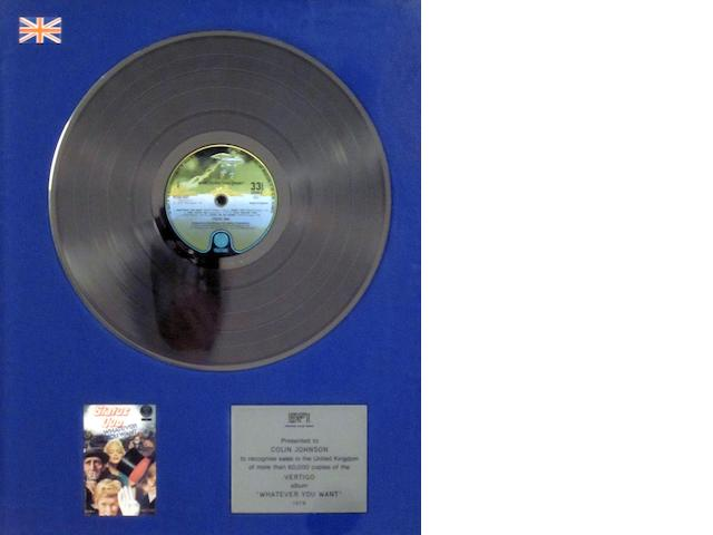 Status Quo: a 'Silver' sales award for the album 'Whatever You Want', 1979,